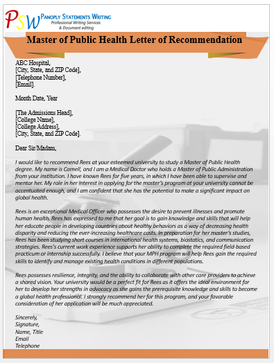 Master of Public Health Letter of Recommendation Writing Service| Editing