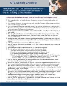 Australian GTE Personal Statement Sample Checklist